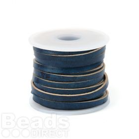 Antique Navy Dyed Matte Finish 3mm Flat Leather Cord 5metres