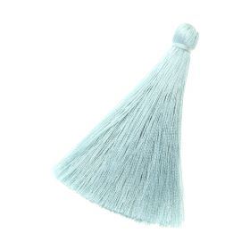 Tassel / viscose thread / 70mm / width 10mm / pale blue / 1pcs