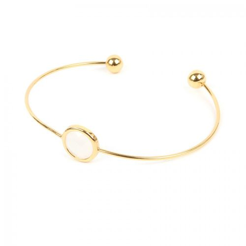 Ready to Wear Gold Plated Small Bangle with White Glass Crystal