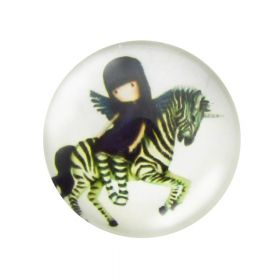 Glass cabochon with graphics 25mm PT1513 / green and white / 2pcs