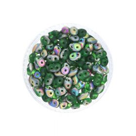 SuperDuo™ / glass beads / 2.5x5mm / Matte Vitral / Chrysolite / 10g / ~140pcs