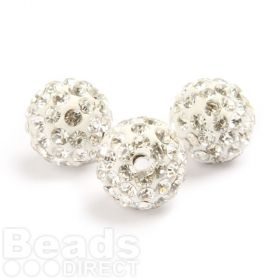 Silver Round 10mm Essential Shamballa Fashion Bead Pk3