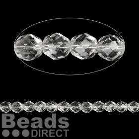 Czech Fire Polished 8mm Crystal Clear Pk50
