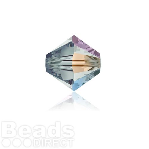 5328 Swarovski Crystal Bicones 4mm Black Diamond AB Pk1440
