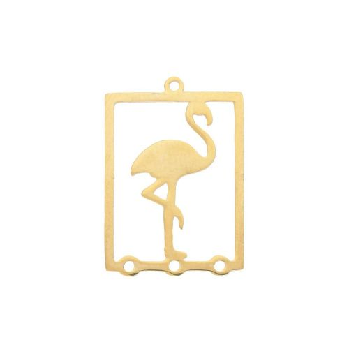 Flamingo / connector / surgical steel / 22x16x1mm / gold / 1pcs