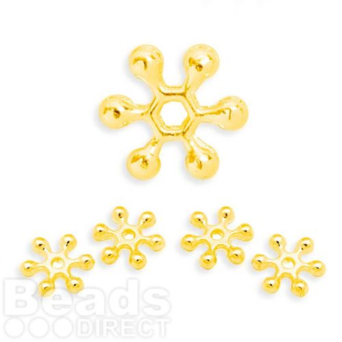 """X"" Gold Plated Snowflake Spacer Champagne Bubble Beads 10mm Pk50"