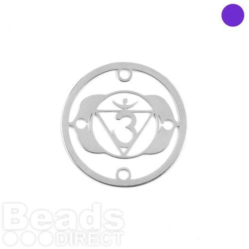 Sterling Silver 925 'Light' Small Chakra Connector 15mm Pk1