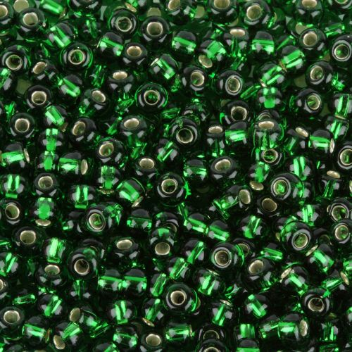 Preciosa Size 6 Round Seed Beads Silver Lined Grass Green 50g