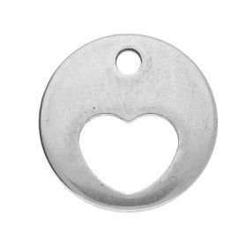 Heart / pendant / surgical steel / 12x12x1mm / silver / 4pcs