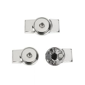 Silver Tone Rectangle Snap On Magnetic Clasp 6x23x41mm Pk1
