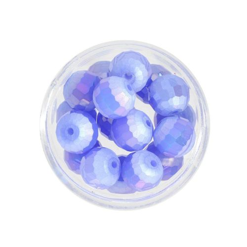 CrystaLove ™ / frosted / faceted glass crystals / round / 10mm / blue / opalescent / 10pcs