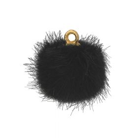 Pom pom / pendant / 15mm / black / 4pcs