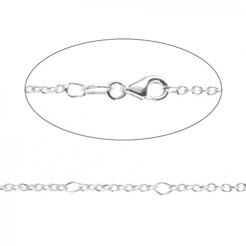 """X- Sterling Silver 925 Adjustable Figaro Chain Necklace with Clasp 18"""""""