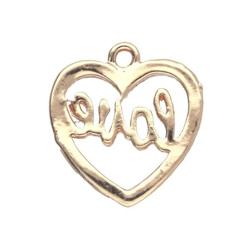 SweetCharm ™ Heart - Love / charm pendant / 18x17x1mm / gold plated / red / 2pcs