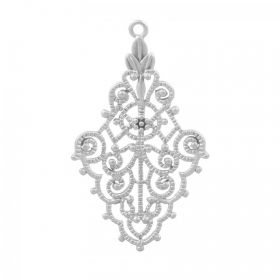 Antique Silver Plated Brass Filigree Charm 20x32mm Pack 1