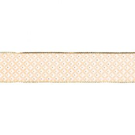 Peach and Gold Diamond Print Fancy Ribbon 25mm Pre Cut 1m Length