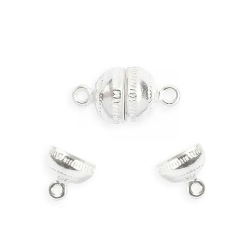 X Sterling Silver 925 Small Round Magnetic Clasp 8x15mm Pk1