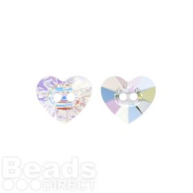 3023 Swarovski Crystal Button Heart 10.5x12mm Crystal AB Pk1