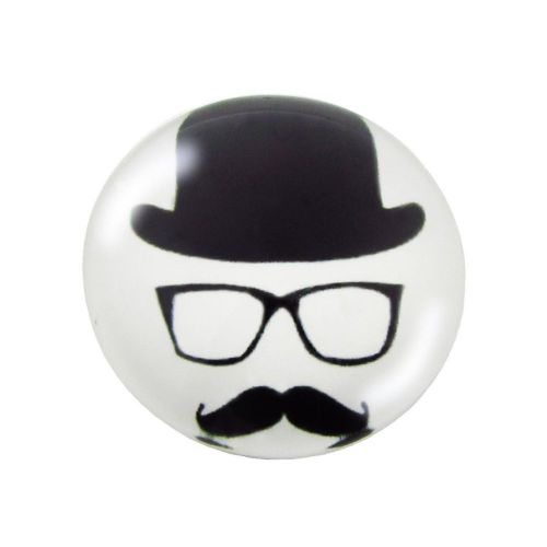Glass cabochon with graphics K20 PT1030 / black and white / 20mm / 2pcs