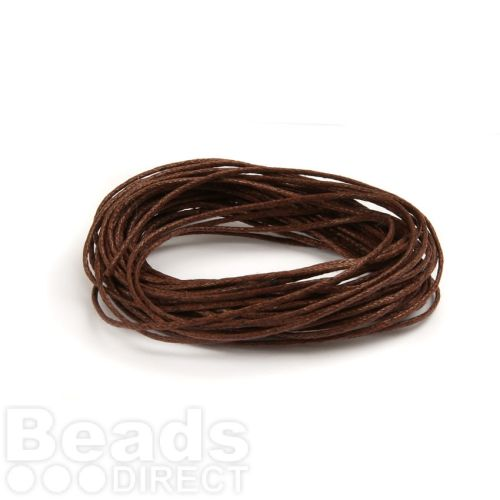 Waxed Cotton Cord 1mm 5Metres Brown
