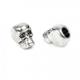 Antique Silver Skull Bead Pk2