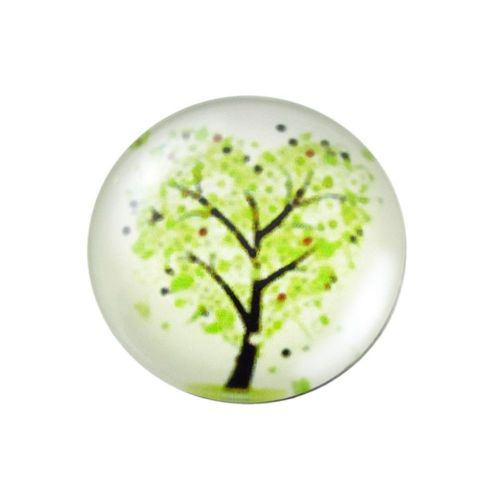 Glass cabochon with graphics K20 PT1072 / white-green / 20mm / 2pcs