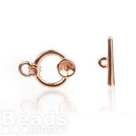 Rose Gold Plated SS39(8mm) Round Toggle Clasp 23mm Pk1