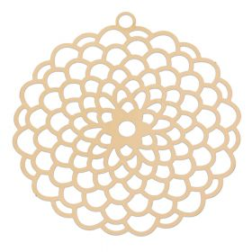 Rosette / pendant filigree / surgical steel / 44x42mm / dark gold plated / 1pcs