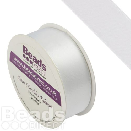 White Double Satin Ribbon 19mm Sold on a 5 Metre Reel