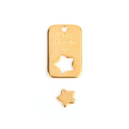 Gold Plated Zamak Charm Tag 19x30mm and Star 10mm Pk1