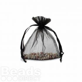 "Black Organza Bag 3""x4"" Pack 5"