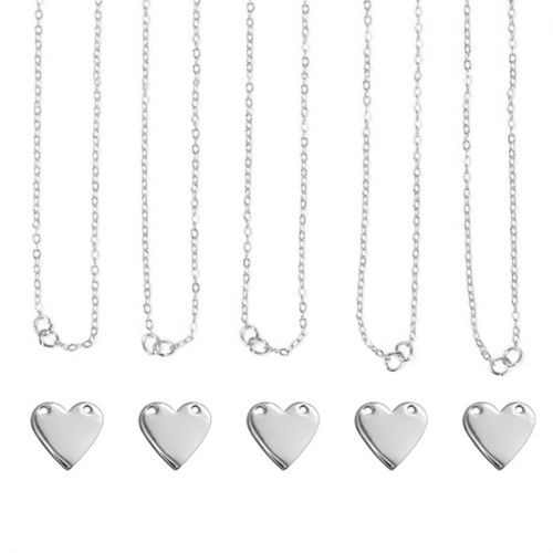 ImpressArt Personal Impressions Silver Plated Heart Connector Necklaces Pk5