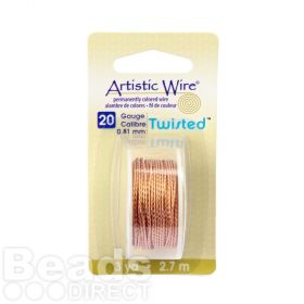Beadalon Brass Plated Twisted Round Wire 20 gauge 2.7m Spool