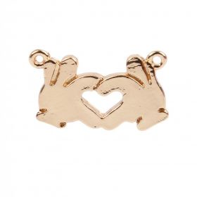 Gold Plated Emoji Connector Charm Hands Heart 8x14mm Pk1