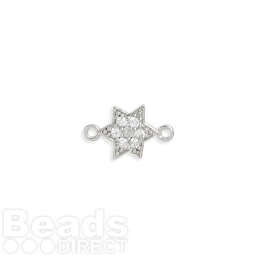Rhodium Plated Brass Small Star Connector with Crystals 8mm Pk1