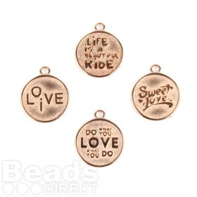 Rose Gold Plated Zamak Round Assorted Phrase Charm Mix 20mm Pk4