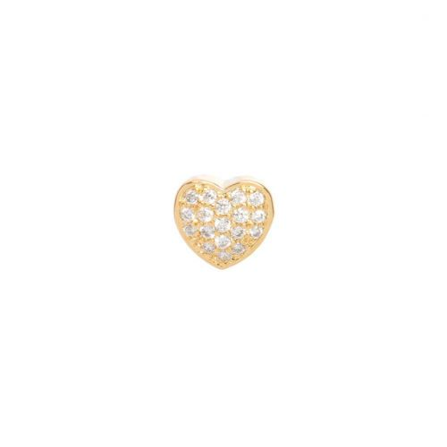 X-Gold Plated Heart Slider Bead Cubic Zirconia 8mm Hole 4x6mm Pk1