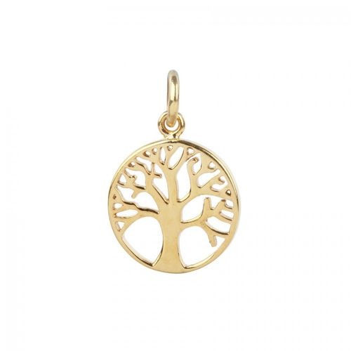 X-Gold Plated Sterling Silver 925 Small Tree Life Charm 12mm Pk1