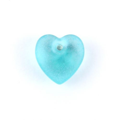 Preciosa Pressed Glass Hearts Frosted Teal 10mm Pk10