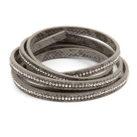 Grey Snakeskin Crystal Faux Leather Flat Cord 6mm Pre Cut 1metre