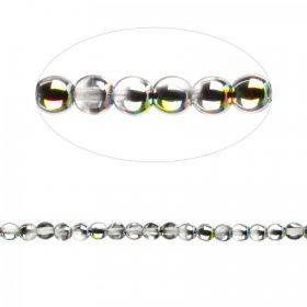 Preciosa Pressed Glass Round Beads Clear Rainbow 4mm Pk30