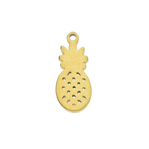 Pineapple / charm / surgical steel / 12x6mm / gold / 2pcs
