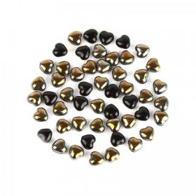Preciosa Pressed Glass Heart Beads Black/Gold 5x7mm 10g