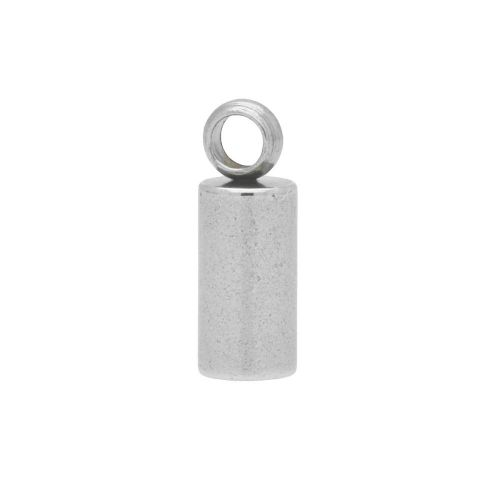 End cap / surgical steel / 8x2.5x2.5mm / silver / hole 2mm / 4pcs