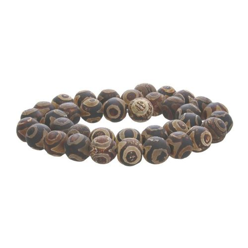 Tibetan agate / round / 12mm / brown / 32pcs