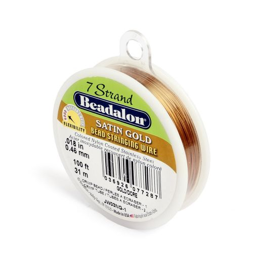 X Beadalon 7 Strand Flexible Beading Wire 'Satin Gold' 0.018in 100ft