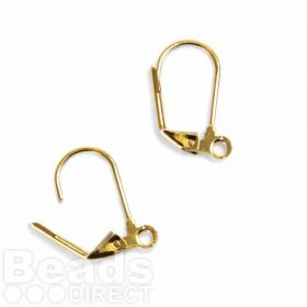 Gold-plated lever back earwires with loop. Pk 5 prs
