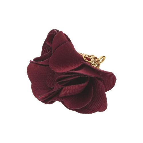 Satin Flower / with an openwork tip / 26mm / Gold Plated / beetroot / 2 pcs