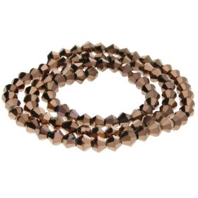 CrystaLove™ crystals / glass / bicone / 3mm / dark brown / lustered / 148pcs