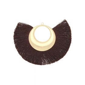 Fan tassel / viscose thread with moon base / 90mm / brown / 1pcs